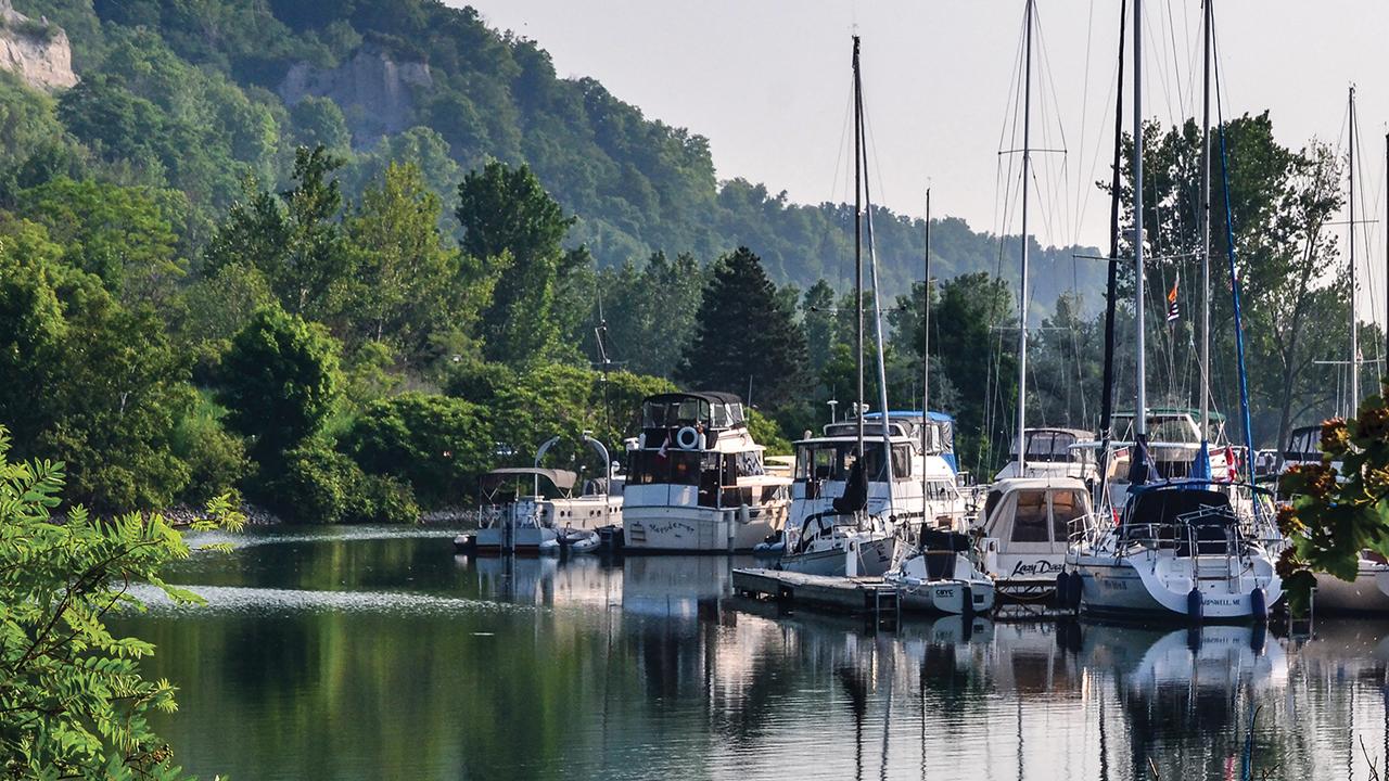 Docks nestled by bluffs
