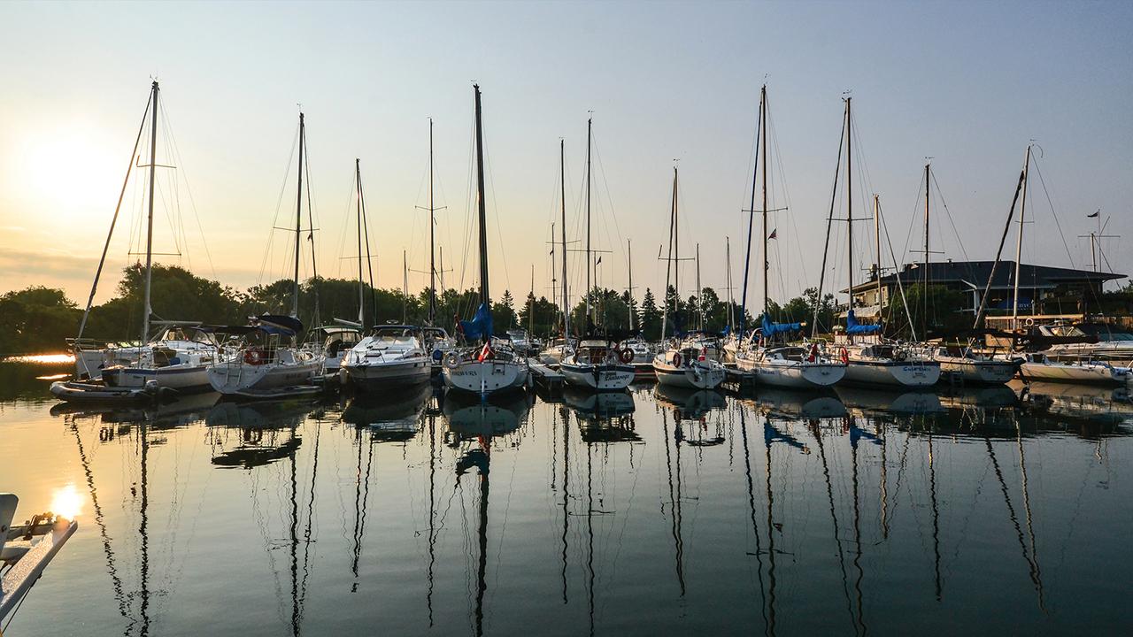 Club docks at sunset