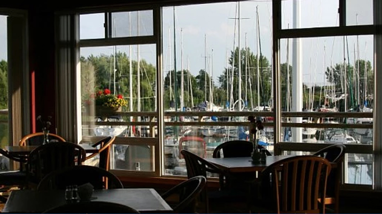 view of the boats from the club dining room